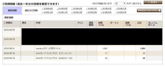 nanacoポイント ANAマイレージ交換 完了