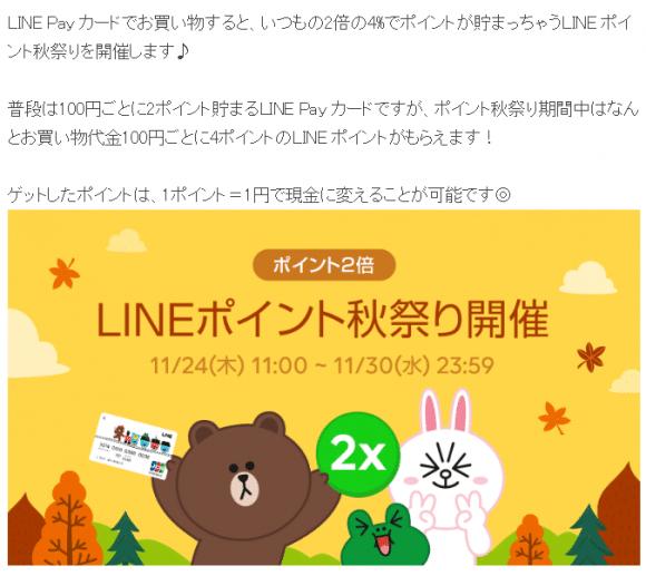 LINE Pay カード ポイント倍増キャンペーン